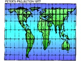 Peter`s projection of the world map (which gives each country the correct relative surface area)